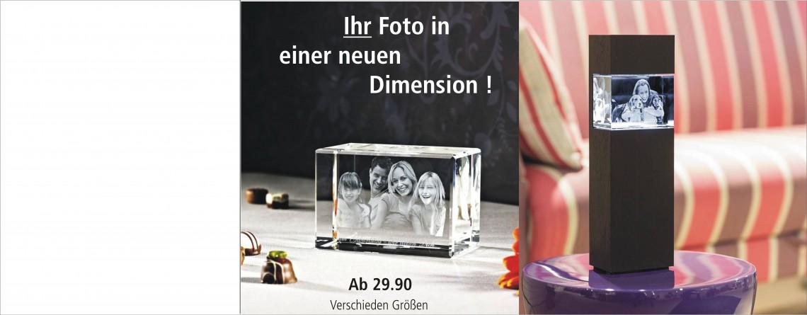 Neuheit ! Ihr Foto in 3D im Glas !