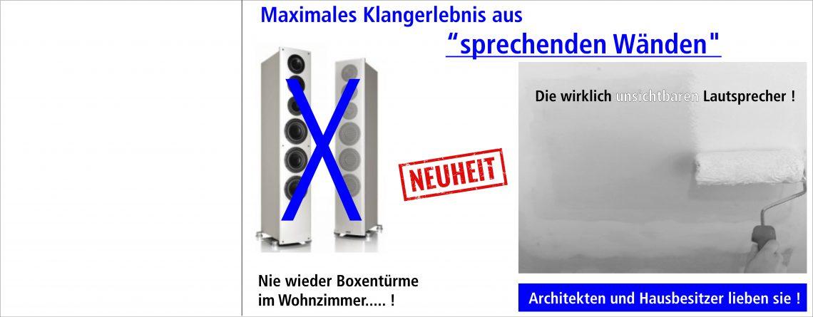 """Endlich ! Die wirklich unsichtbaren Lautsprecher aus """"sprechenden Wänden """"!"""